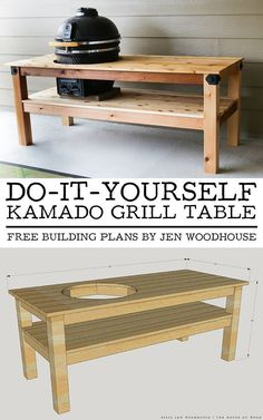 DIY Kamado Grill Table How to build a DIY grill table for Big Green Egg BGE / Kamado Joe Kamado Ceramic Grill – free building plans by Jen Woodhouse Table Grill, Grill Cart, Patio Grill, Diy Grill, Patio Table, Backyard Bbq, Large Backyard, Backyard Ideas, Webber Grill Table