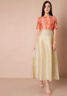 691329abf7f Printed Yoke Silk Maxi Tunic - Orange Beige #Fashion #FabAlley #MaxiTunic # Tunic