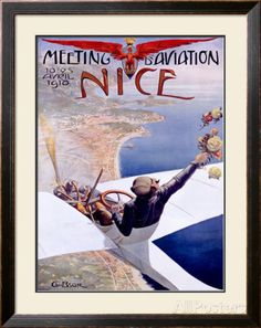Meeting d'Aviation, Nice, 1910 Framed Giclee Print by Charles Leonce Brosse at AllPosters.com
