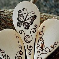 Baking spoons #woodburning #pyrography #butterfly