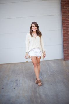 Glitter & Gingham - A Kentucky Style Blog. Lace up sweater+white denim shorts+brown heeled sandals+beige shoulder bag. Summer outfit 2016
