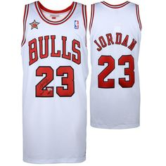 c09f6f5122aa03 Michael Jordan Chicago Bulls Autographed White Mitchell   Ness Jersey with  1998 All Star Patch   HOF