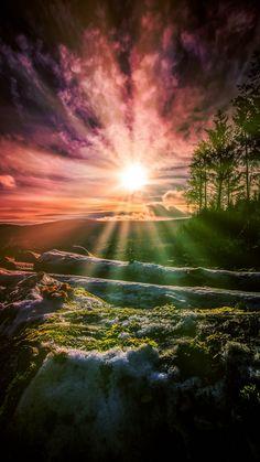 Sunrise, sunbeams, wicklow, mountains, ireland, 720x1280 wallpaper