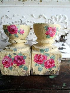 Antique Pair Newel Post Architectural Salvage Shabby Yellow Hand Painted Roses by Holliezhobbiez on Etsy