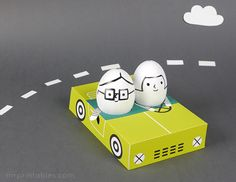 Egg People on the road / fun Easter egg decoration for kids