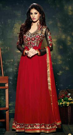 USD 56.63 Red Georgette Designer Anarkali Suit 44948