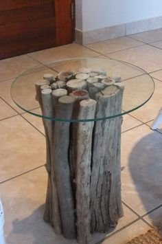 table from wood and glass