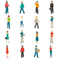 People Isometric Icons Set vector art illustration
