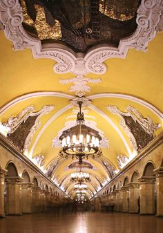Metro, Moscow. #travel #architecture #beenthere - Palaces for the People - building the style of the tsars palaces into the public transport system