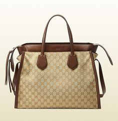 Gucci Rumble New Sand Original GG Canvas w/Nut Brown Leather Detail (Layered) Tote; $2,900.00