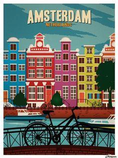 Vintage Travel art Print amsterdam holland canvas or satin photo poster Vintage Travel Posters, Vintage Ads, Vintage Makeup, Old Poster, Poster Poster, Print Poster, Kunst Poster, Travel Illustration, Digital Illustration