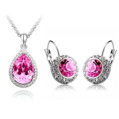 Austria Rhinestone Necklace & Earrings Rose $19.99 kromecollection.com
