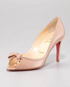 Milady Patent Leather Bow Peep-Toe Red Sole Pump by Christian Louboutin at Neiman Marcus.