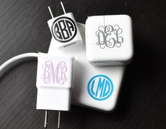 """With these 1"""" Monogram Decals you can personalize all your accessories and more. Say goodbye to missing chargers around the house with these adorable decals! These monogrammed decals fit perfectly on your charger or phone, letting everyone know who it belongs to. These are perfect for back to school. Apply them to your laptop, ipad, notebooks, coffee mugs, lockers,etc. These fabulous monograms make an amazing, one-of-a-kind gift for friends, family, and or yourself!&n..."""
