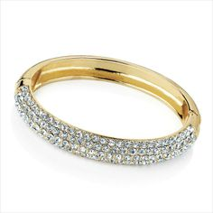 Shiny gold colour crystal hinge bangle 5050891277604 on eBid United Kingdom