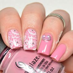 PINK LACE NAIL ART WITH 3D NAIL CHARMS FROM BEAUTYBIGBANG