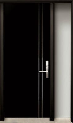 Wholechildproject Modern Wood Door With Stainless Steel Design Wholechildproject Flush Door Design, Single Door Design, Home Door Design, Wooden Main Door Design, Bedroom Door Design, Door Design Interior, Modern Wood Doors, Modern Exterior Doors, Contemporary Doors