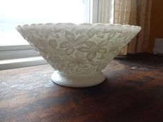 The Vintage Village - View Classified - Milk Glass Bramble Maple Leaf Footed Centerpiece Bowl