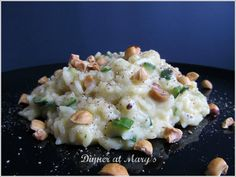 risotto with zucchini, brie and hazelnuts