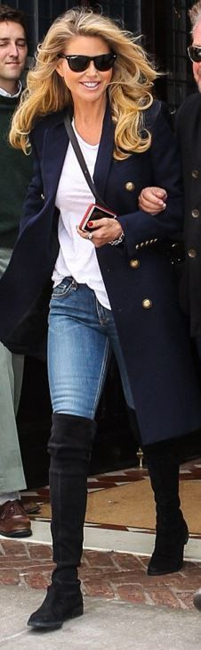Christie Brinkley: Sunglasses – Ray Ban Coat – Saint Laurent Shoes – Stuart Weitzman