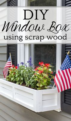 DIY Window Box from Repurposed Scrap Wood A stepbystep tutorial for how to build a window box using scrap wood to add charm and curb appeal to exterior windows Decorating On A Budget, Porch Decorating, Home Decor Items, Diy Home Decor, Shed Makeover, Exterior Makeover, Painting Shower, Sign Painting, Scrap Wood Projects