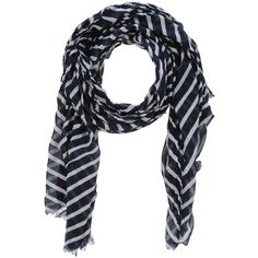 Vero Moda Stole featuring polyvore, women's fashion, accessories, scarves, dark blue, patterned scarves, cotton scarves, vero moda, print scarves and fringe scarves
