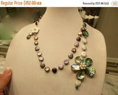 Mega Great ABALONE, Baroque PEARL, MOP Multi-Pendant Peacock Pearl Rosary Chain Necklace w/Mother Of Pearl Carved Floral Clasp by theunitgal. Explore more products on http://theunitgal.etsy.com