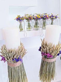 Διακόσμηση Στολισμός Γάμου Yellow Wedding, Farm Wedding, Boho Wedding, Wedding Program Sign, Wedding Venues, Levander Wedding, Wedding Decorations, Table Decorations, Candels