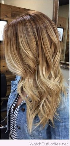 Amazing light wood and honey blonde highlights with denim jacket