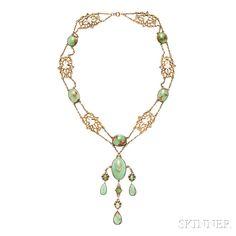 Antique Renaissance Revival Turquoise Necklace.   Lot 51   Auction 3015B   Estimate $400-600