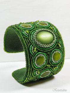 #beadembroidery #cuff #green  Krisztaline.com