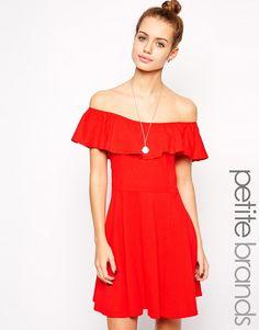 Glamorous+Petite+Bardot+Flippy+Dress