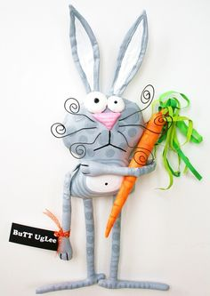 Bunny named ManLey ... Grey bunny polka dots by buttuglee on Etsy