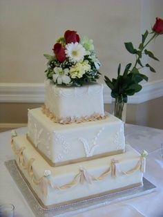"""My simple version of some of the ideas from the """"Royal"""" wedding cake in white and ivory."""