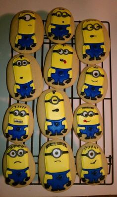 Items similar to Despicable Me Minion Sugar Cookies.Greeks-N-Sweets on Etsy Despicable Me Party, Minions Despicable Me, Minion Party, Funny Minion, Funny Jokes, Iced Cookies, Cute Cookies, Yummy Cookies, Sugar Cookies