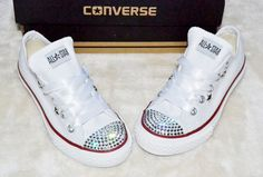 Customised Crystal White Low Top All Star Converse with Blinged Crystal Toes & White Satin Ribbon Laces Ready To Ship Kids Childs UK Size 11