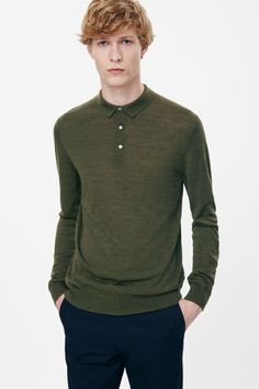 Made from finely knitted merino wool, this long-sleeved  jumper is based on the shape of a polo shirt. A classic straight fit, it has a ribbed collar and partial front button fastening.
