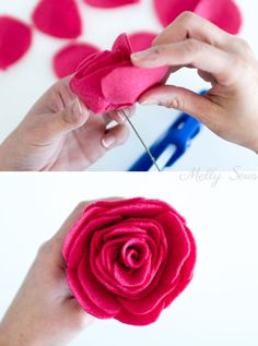Make a felt flower bouquet with these tutorials for different felt flowers - from felt roses to felt ranunculus to a felt peony & felt dahlias Ribbon Embroidery Tutorial, Silk Ribbon Embroidery, Felt Embroidery, Embroidery Stitches, Ribbon Flower Tutorial, Hair Bow Tutorial, Felt Roses, Felt Flowers, Diy Flowers