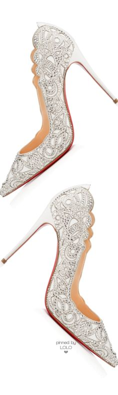 Christian Louboutin ~ Crystal Embellished White Wedding Pumps 2015