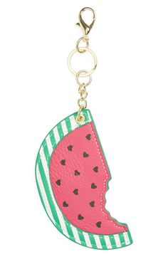 Add a pop of playful summer style to your go-to tote with this charming watermelon bag charm with heart-shaped seeds.