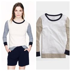 J Crew Color Block Shirt Super cute J Crew color block tshirt. Colors are off white, navy, and oatmeal. Great for winter layering! Pair with your favorite cozy scarf, skinnies, and tall boots!! VERY gently worn! J. Crew Tops