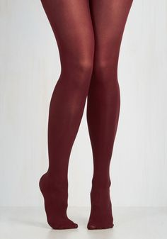 Layer It On Tights in Marsala. Enjoying your favorite warm-weather clothes year 'round is a cinch now that you've welcomed these burgundy tights into your wardrobe! #red #prom #modcloth