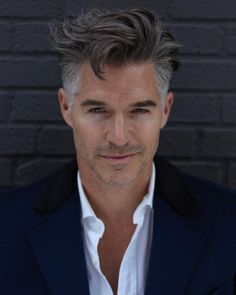 Older mens hairstyles, haircuts for men, pretty hairstyles, men' Best Hairstyles For Older Men, Haircuts For Men, Eric Rutherford, Medium Hair Styles, Short Hair Styles, Grey Hair Men, Handsome Faces, Handsome Man, Hair And Beard Styles