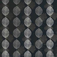 Arthouse Opera Retro Leaf Wallpaper - Black