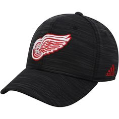 Men s Detroit Red Wings adidas Heathered Black Structured Flex Hat 9b5108868