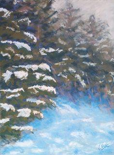 Merry Christmas!! Joyeux Noël!! Snow in Donezan (Pyrénées- France) Neige sur le Donezan (Pyrénées-France) Unison Colour soft pastels on pastelcard. 30x40 cm. http://poussieresdepastels.blogspot.fr