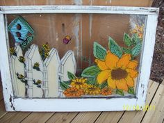 Sunflower Hand Painted Window I did using Plaid Craft Paints