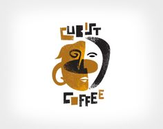 cubist coffee logo - typography, illustration and shape