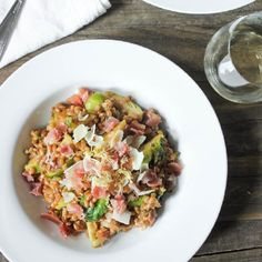 Farro Risotto with Prosciutto, Parmesan and Brussels Sprouts. Ridiculously delicious.