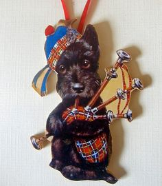 Scottish Terrier, Handcrafted Wood, Valentine Ornament, Bagpipe Player, Dog Lover Gift, Puppy Magnet, Gift, Musical Animal, Plaid Kilt, Tam